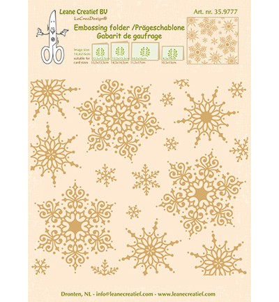 Leane Creatief - Embossing Folder - Snowflakes Background