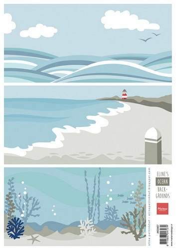 Marianne Design - Knipvel - Eline`s background - Ocean