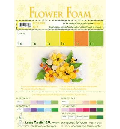 Flower foam - assortment - Set 4 -Yellow colours