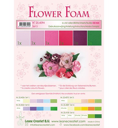 Flower foam - assortment - Set 5 - Red - Pink - Colours
