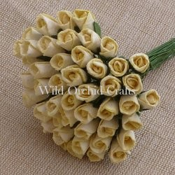 Mulberry paper close rose buds - Cream