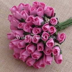 Mulberry paper close rose buds - Pink