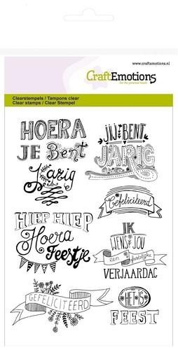 Craft Emotions - clearstamps - Gefeliciteerd handlettering
