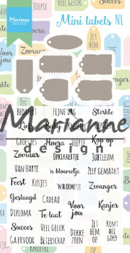 Marianne Design - Clear stamp en die set - Mini labels NL
