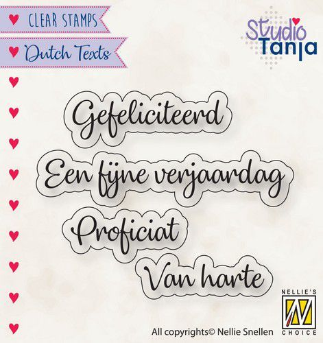 Nellie Snellen - Clearstamp - Proficiat etc.
