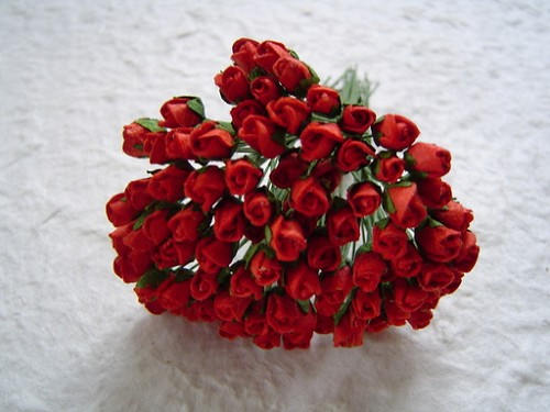 Mulberry paper Closed Rose Buds - Red