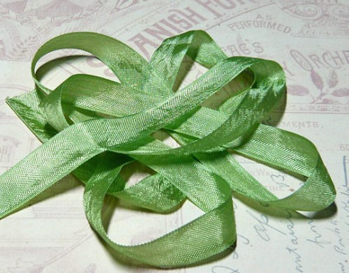 Vintage Seam Binding Ribbon - Moss Green