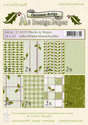 Leane Creatief - Christmas Design Blocks & Stripes - Groen
