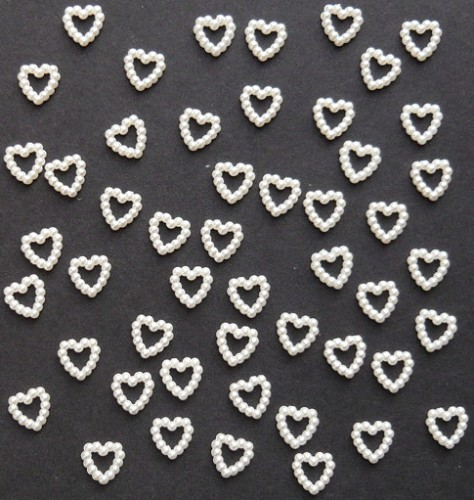 Heart Pearl Beads - White