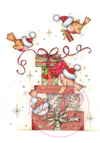 Wild Rose Studio - Clearstamp - Robins on Presents