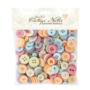 Papermania - Assorted Buttons - Vintage Notes