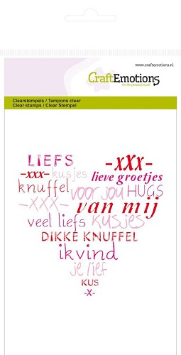 Craft Emotions - Clearstamp - Hartje - Veel Liefs