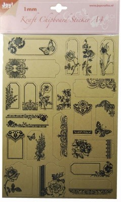 Joy! Kraft Chipboard Sticker - Bloemen
