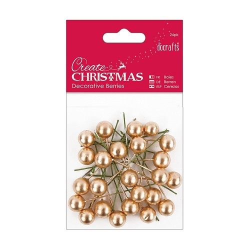 Docrafts Decorative Berries - Gold